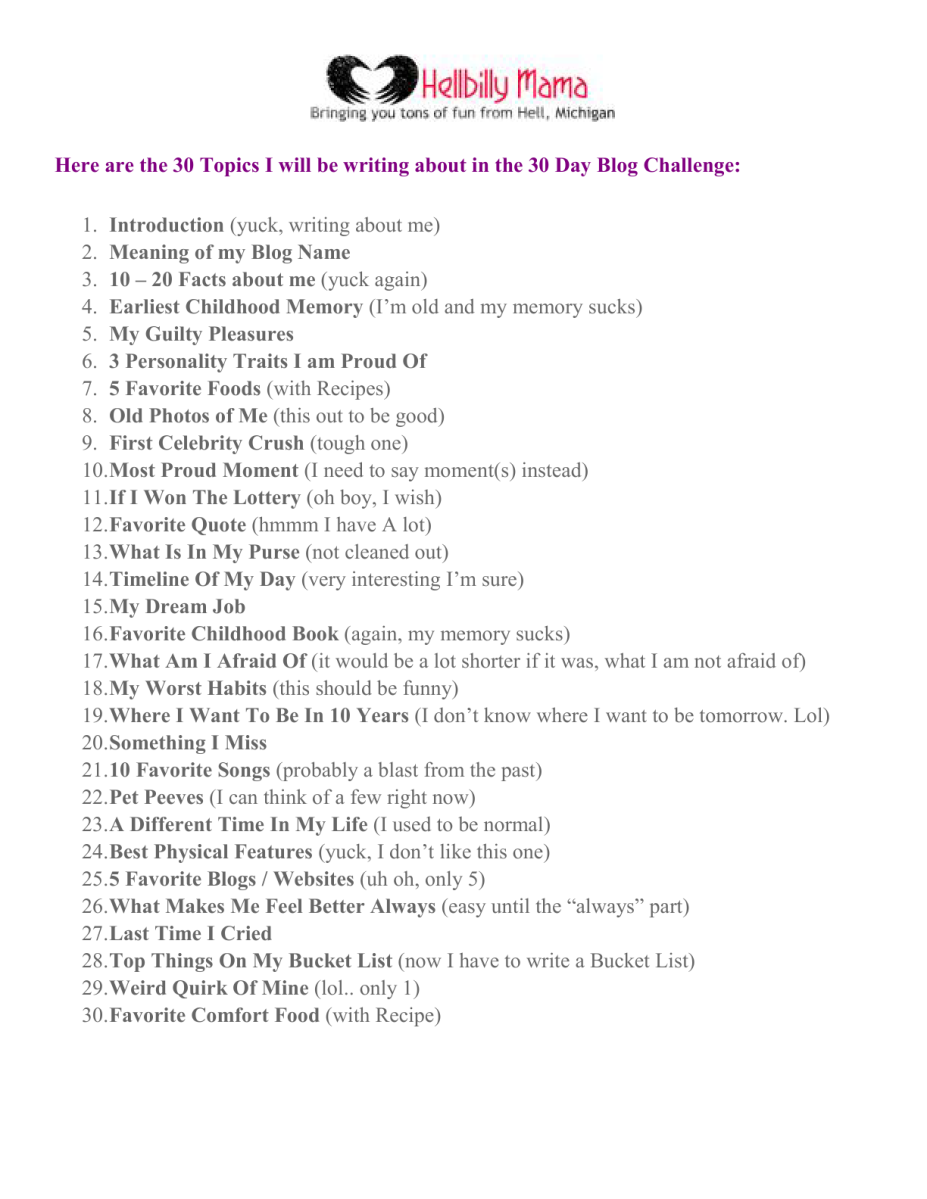 30 Day Blog Post Challenge 30 Day Blog Challenge Sheet